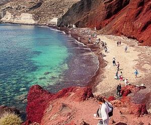 beach, santorini, and travel image