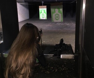 girl, hair, and gun image