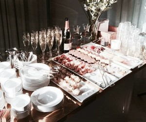 food, buffet, and champagne image