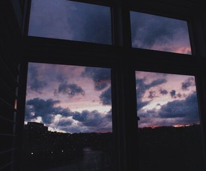 sky, window, and clouds image
