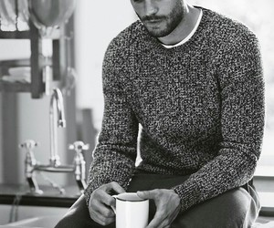 Jamie Dornan, fifty shades of grey, and black and white image