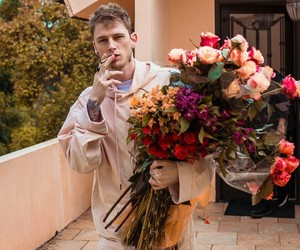 ️mgk, flowers, and cigarette image