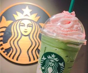 coffee, pink food, and starbucks image