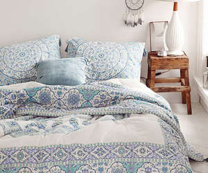 bedroom, blue, and boho image