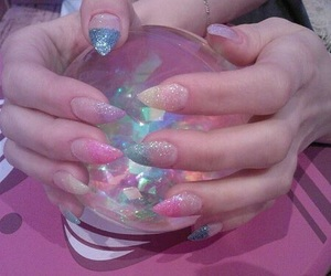 pink, nails, and pale image