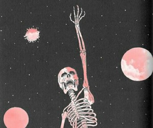 skeleton, stars, and bird image