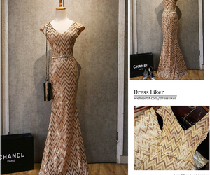 evening dress, gold dress, and Prom image