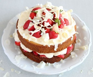 cakes, cream, and strawberry image
