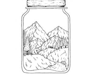 black and white, drawing, and montagnes image