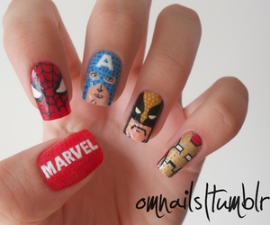 nail art, spider man, and captain america image
