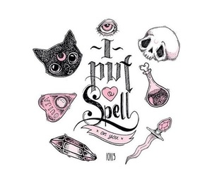 spell, cat, and witch image