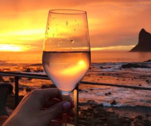 beach, wine, and food image