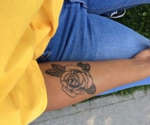 tattoo, yellow, and rose image
