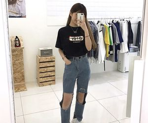 girl, ripped jeans, and swag image