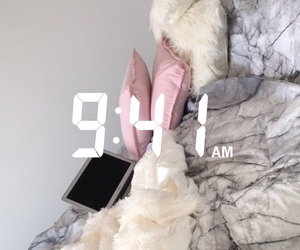 apple, baby pink, and bed image