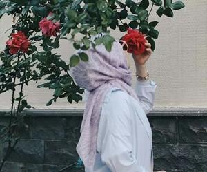 flower, hijab, and girl image