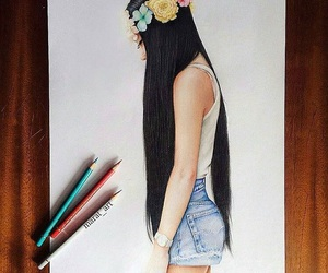 girl, colors, and flowers image