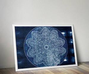 etsy, hippy poster, and blue mandala image