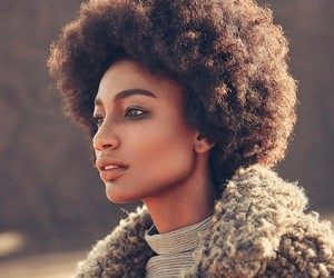 makeup, smokey eye, and afro hair image