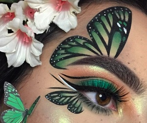 aesthetic, eyebrows, and green image