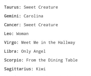 album, songs, and zodiac signs image