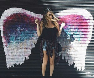 girl, wings, and angel image