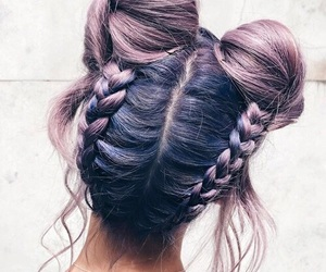 braids, hair, and lavender hair image