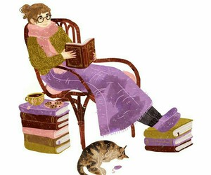 books, read, and cat image