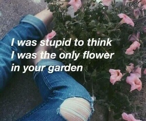 quotes, flowers, and sad image