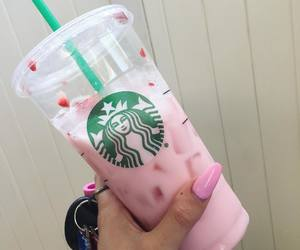 drink, pink, and starbucks image