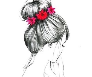 flowers, drawing, and girl image