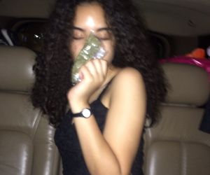 girl, weed, and dark image