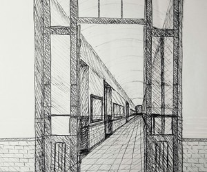 architecture, pen drawing, and art image