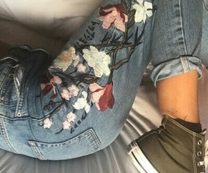 fashion, jeans, and flowers image