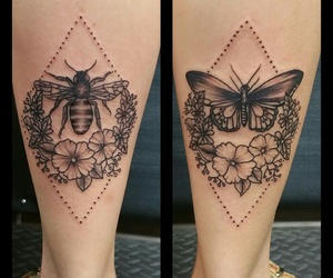 bee, tattoo, and flowers image