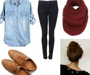 jeans, hair bun, and outfits image