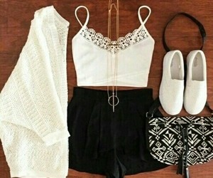 outfits, style, and white shorts image