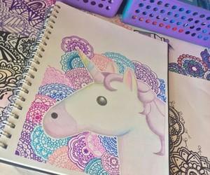 dibujo, zentangle art, and unicornio image