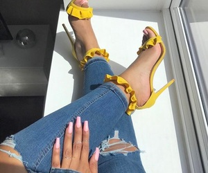 nails, shoes, and yellow image