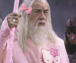 pink, hello kitty, and gandalf image