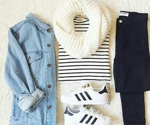 jeans jacket, style, and superstars image