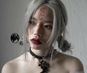 aesthetic, asian girl, and grey hair image