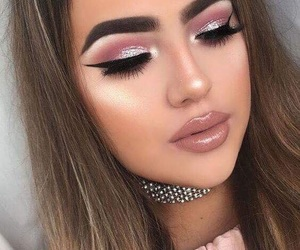 glitter, rosegold, and makeup image