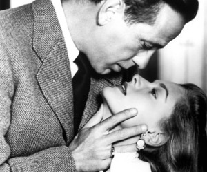 Lauren Bacall, Humphrey Bogart, and black and white image
