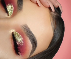 eyebrows, glitter, and make up image