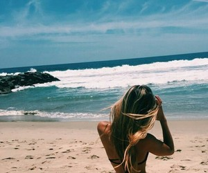 beach, sand, and blonde image