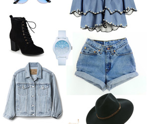 boots, choker, and denim image