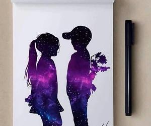 dibujo, galaxia, and niños image