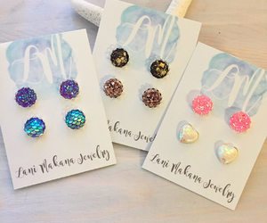 etsy, bridesmaid gift set, and silver stud earrings image