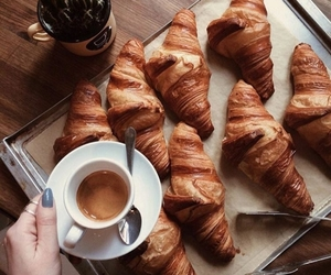 food, croissant, and coffee image